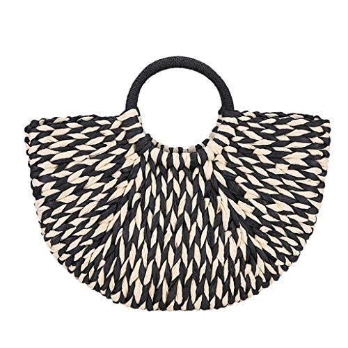 (Straw Handbag,Women Fashion Weave Summer Beach Tote Travel Holiday Top Handle Bag Shoulder Bag (Black))