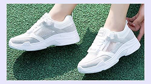 XINGMU Las Mujeres Sneakers Primavera Verano Mujer Calzado Casual Moda Plataforma Lace-Up Malla Transpirable Zapatos De Mujer Rosa