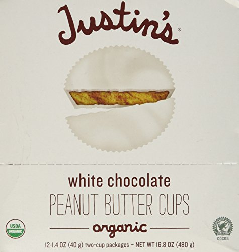 Justins Organic White Chocolate Peanut Butter Cup, 1.4 Ounce -- 12 per case.