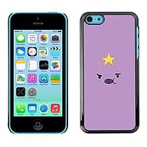 FlareStar Colour Printing Purple Star Yellow Smiley Cute Minimalist cáscara Funda Case Caso de plástico para Apple iPhone 5C