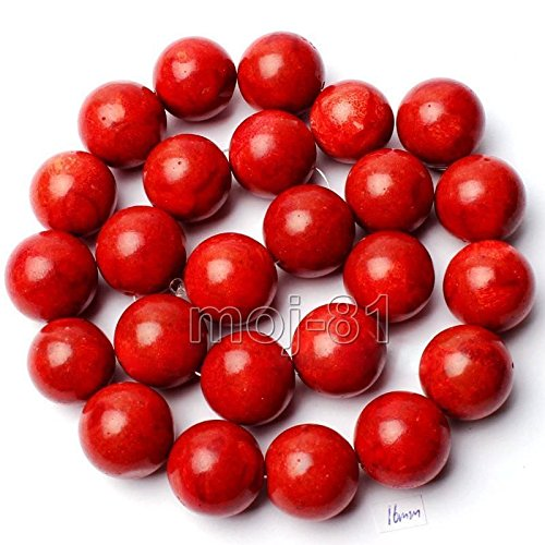 Huge 16mm Genuine Natural Red Sponge Coral Round Loose Beads 15