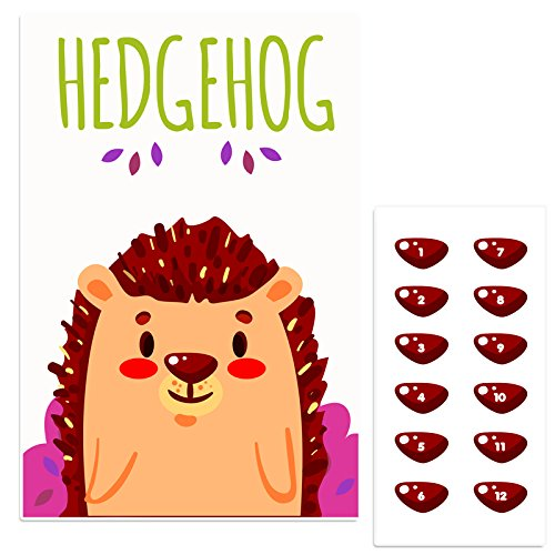 Happy Hedgehog Pin The Nose Birthday Party Game -