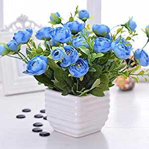 Situmi Artificial Fake Flowers  Potted Plants Ceramic Vases Gift Garden Decoration Blue Camellia Home Accessories 40