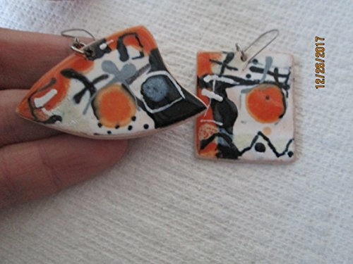 One of a kind blue orange gray white artists art modernist hand painted glazed abstract pottery dangle earrings fair trade handmade clay ceramic design Art Clay Dangle Earrings