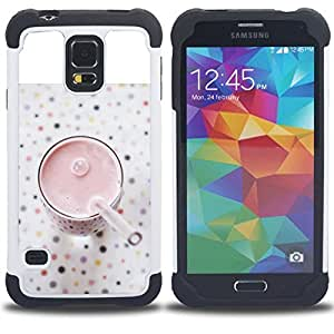 GIFT CHOICE / Defensor Cubierta de protección completa Flexible TPU Silicona + Duro PC Estuche protector Cáscara Funda Caso / Combo Case for Samsung Galaxy S5 V SM-G900 // Healthy Smoothie Strawberry //