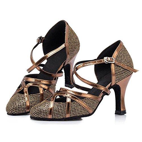 Monie Women's Glitter Synthetic Modern Salsa Ballroom Tango Dance Shoes Flare Heel qc4V63
