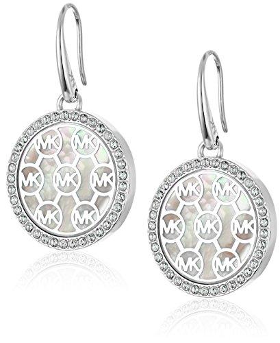 Michael Kors Logo Silver-Tone Drop Earrings