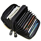 Leatherboss Leather RFID Identity Safe Double Zippered Accordion Wallet