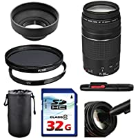 Canon EF 75-300mm f/4-5.6 III Lens Bundle + UV Filter + Polarizer Filter + 2 In 1 Lens Cleaning Pen + High Speed 32GB Memory Card + Rubber Hood + Deluxe Lens Case