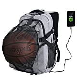 G1-Tech Basketball Backpack, Soccer Backpack, Football Backpack, Computer Backpack Business Laptop Backpack with USB Port, Headphone Pouch and Ball Holder with Basketball Net for Women/Men - Gray