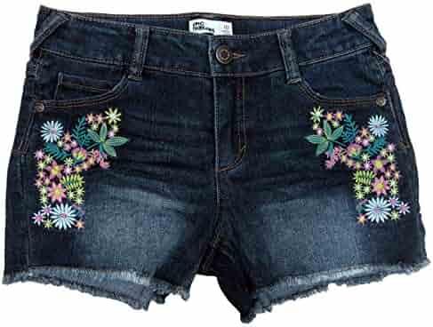Striped Crochet-Trim Shorts Aqua Small 7-8 7-16 Epic Threads Big Girls