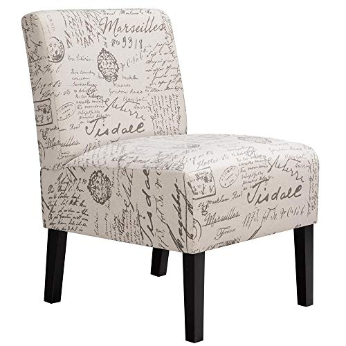 Yaheetech Armless Accent Chair Letter Print Fabric Living Room Chairs Contemporary Single Sofa with Solid Rubberwood Legs