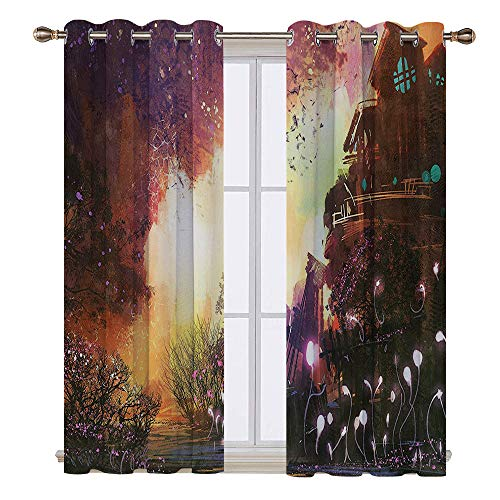 SATVSHOP Thermal Blackout Curtains - 84W x 96L Inch- Blackout Draperies for Bedroom Living Room.Fantasy Art House Abandoned Medieval Castle with Old Tower Ghosts Halloween Spooky Mauve Yellow.]()