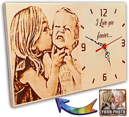 Custom Wood Burned Photo Clock Personalized Gift