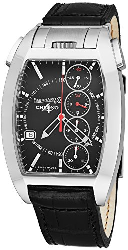 Eberhard   Co Chrono 4 Temerario Mens Stainless Steel Automatic Chronograph Watch   Tonneau Black Face Black Leather Band Casual Swiss Watch For Men 31047 3
