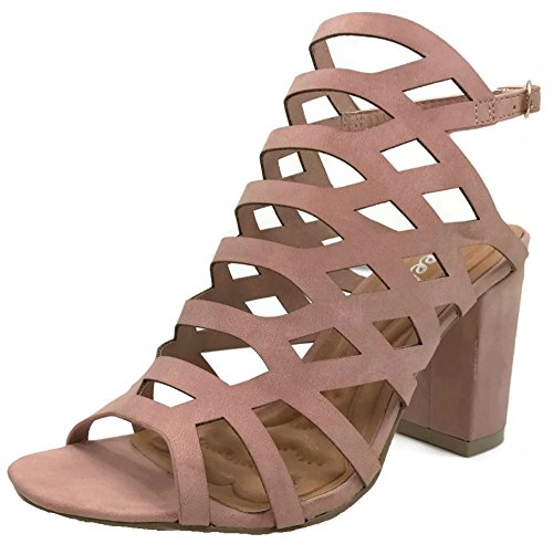 Wee Collection Womens Open Toe Strappy Caged Ankle Strap Block Mid High Heel Sandalp, Blush, (Faux Leather Strappy Heel Wedge)