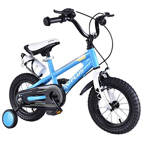 (Goplus Freestyle Kids Bike Bicycle 12inch/ 16inch/ 20inch Balance Bike with Training Wheels for Boy's and Girl's (Blue, 16-inch))