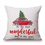 img - for Merry Christmas Cartoon Pattern Decorative Pillow Case Cotton Linen Square Pillowcases Cushion Cover 18 x 18 for Home Decor-It's the most wonderful time of the year book / textbook / text book