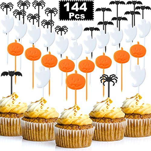 144 Pieces Halloween Picks Plastic Cupcake Toppers Party Picks with Pumpkin Spider Bat Ghost Design for Halloween Birthday Theme Party Decoration]()