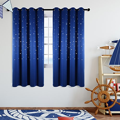 Star Wars Themed Kids Room Blackout Curtains, Kotile 2 Panels 63 Inch Length Grommet Thick and Soft Room Darkening Curtain with Laser Cutting Stars, Perfect for Baby Nursery, Royal Blue