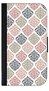04-Colorful Damasks Pattern- Wallet Case for the APPLE IPHONE 4, 4s ONLY!!!!!-PU Leather and Suede Wallet Iphone Case with Flip Cover that Closes with a Magnetic Clasp and 3 Inner Pockets for Storage