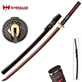 Shinwa Incendiary Handmade Katana / Samurai Sword - Exclusive Hand Forged Red & Black Damascus Steel - Genuine Ray Skin - Ornate Tsuba / Guard Design - Fully Functional, Battle Ready, Ninja Fierce