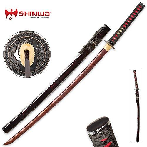 Shinwa Incendiary Handmade Katana/Samurai Sword - Exclusive Hand Forged Red & Black Damascus Steel - Genuine Ray Skin - Ornate Tsuba/Guard Design - Fully Functional, Battle Ready, Ninja Fierce