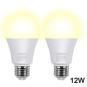 Motion Sensor Light Bulbs, Aukora 12W (100-Watt Equivalent) E26 Motion Activated Dusk to Dawn Security Light Bulb Outdoor/Indoor for Front Door Porch Garage Basement Hallway Closet(Warm White 2 Pack)
