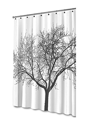 Shower Curtain with Hook, Marrywindix Bathroom Waterproof Mould Proof Fabric Weave Curtain Tree Shower Curtain with 12 Hangers White & Black