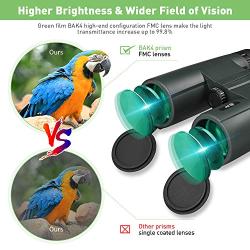 OUTLIFE 10X42 Binoculars for Adults & Kids, Compact High Power HD Binocular with Large Eyepiece for Bird Watching, Hunting, Sightseeing, Traveling, Waterproof Binoculars with Carrying Bag