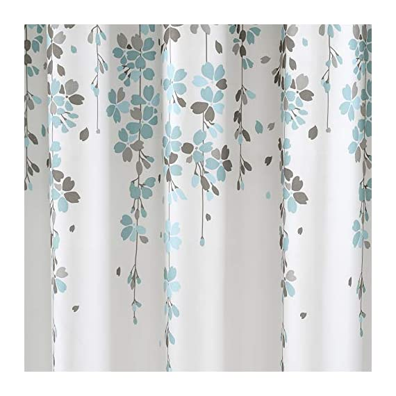 Lush Decor, Blue and Gray Weeping Flower Shower Curtain-Fabric Floral Vine Print Design, x 72 - Soft, 100% polyester fabric shower curtain with a delicate floral design. Calming, decorative design with cascading flowers create a charming shower curtain for any bathroom. Lush Décor Weeping Flower shower curtain features a delicate vine-like design for your traditional or minimalist style bathroom decor. - shower-curtains, bathroom-linens, bathroom - 515M6dNaRNL. SS570  -