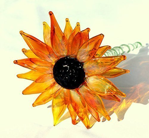 Black Eyed Susan, Transparent Yellow Orange Lampwork Hand Blown Glass Flower Long Stemmed