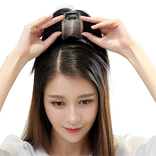 Remeehi Middle Part Real Human Hair Topper Clip in Hand Made Hair Top Piece for Thinning Hair (14inch Chestnut Brown) by Remeehi (Image #7)