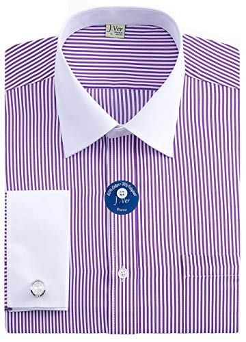 J.VER Men's French Cuff Dress Shirts Regular Fit Long Sleeve Spead Collar Metal Cufflink - Color:Stripe Purple, Size: 15.5
