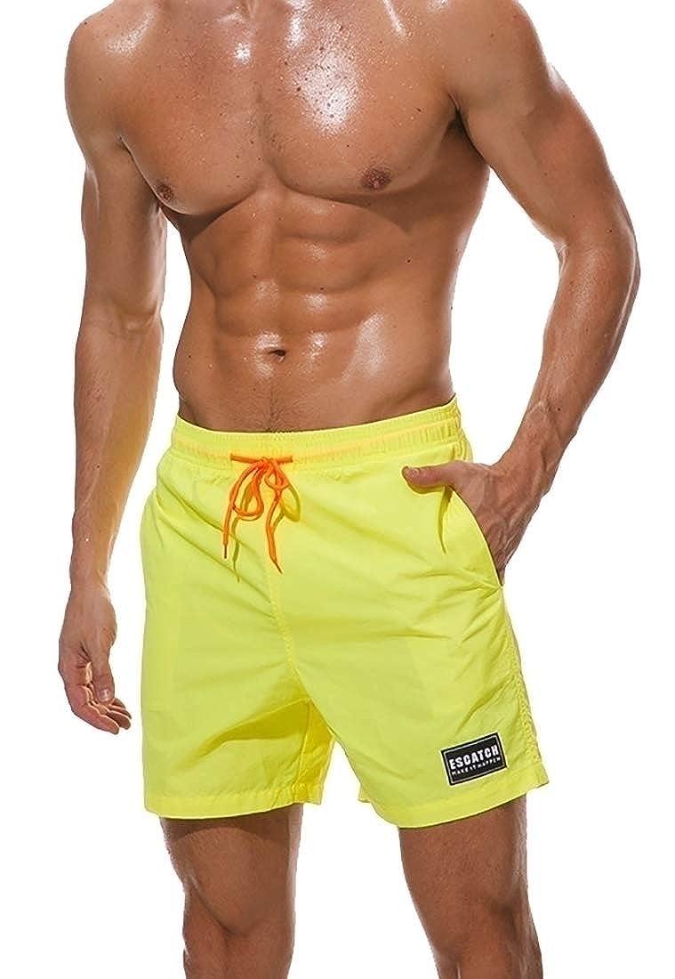 ouxiuli Men/'s Solid Color Swimwear Quick Dry Board Shorts Bathing Short