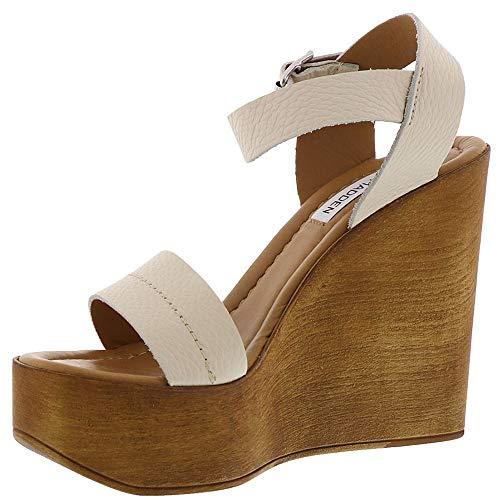 Steve Women's Belma Off Madden Wedge White Sandal rBSrnW