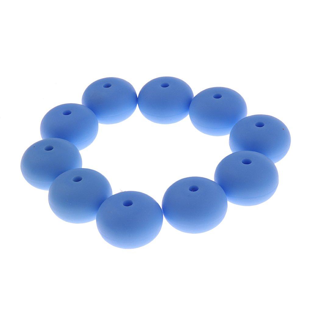 Baoblaze DIY Krankenpflege Halskette Armband Silikon Perlen Beißringe Schmuck DIY Schnullerkette Baby Zahnen Kugeln Dekoperlen - Blau