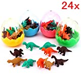 JZK 24 Dinosaur eggs with little rubber dinosaur toy mini pencil eraser set for children party favours kids birthday party bag fillers birthday gift for boys girls