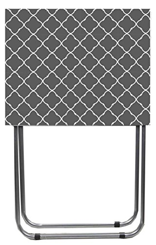 Card Lattice (Home Basics Multi-Purpose Sturdy and Durable Decorative Bedside Laptop Snack Cocktails TV Folding Table Tray Desk Bedside Laptop Snacks Grey Lattice)