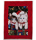 Best Token Soft Warm Throw Blanket Fleece Sherpa Air Quilt Bedding for Bed, 50-by-60-Inch - Christmas Cat Pattern