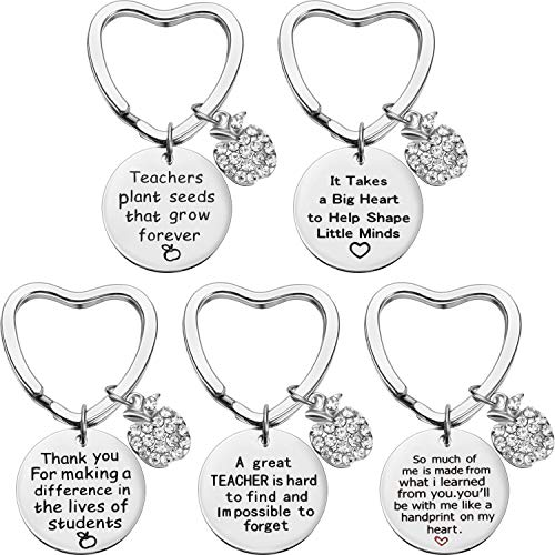 5 Pieces Teacher Gift Key Ring Heart Shaped Charm Jewelry Keychain Stainless Steel Thoughtful Gift Key Chain for Women Teachers (Style D) ()