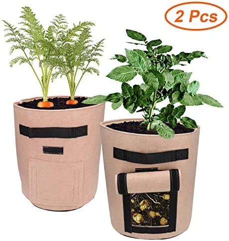 Ecosylife Potato Grow Bags,2 Pack of 10 Gallon Heavy Duty with 2 Access Flap Sturdy Handles Breathable Nonwoven Fabric Grow Bags, Perfect for Planting Potato, Carrot, Tomato, Onion Brown