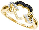 Yellow-tone Sterling Silver Womens Round Black Colored Diamond Heart Love Ring 1/8 Cttw (I2-I3 clarity; Black color)