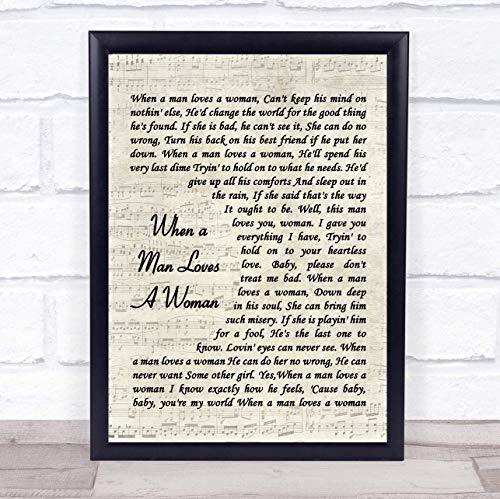 (123 BiiUYOO When A Man Loves A Woman Percy Sledge Song Lyric Vintage Script Quote Print 12
