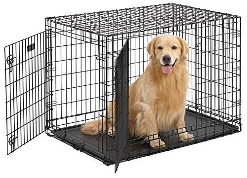 Ulitma Pro (Professional Series & Most Durable MidWest Dog Crate) Extra-Strong Double Door Folding Metal Dog Crate w/ Divider Panel, Floor Protecting