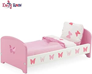 "Emily Rose 14 Inch Doll Furniture | Lovely Pink and White Butterfly Theme Single Bed, Includes Plush Reversible Bedding | Fits 14"" American Girl Wellie Wishers Dolls"