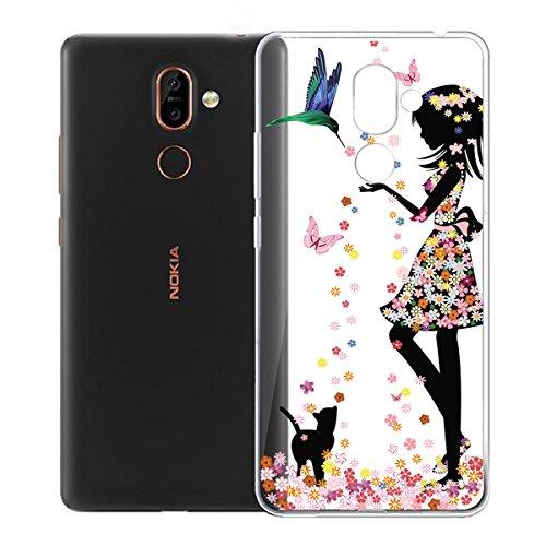 Funda para Nokia 7 Plus , IJIA Transparente Verde Pequeño Cute Pet TPU Silicona Suave Cover Tapa Caso Parachoques Carcasa Cubierta para Nokia 7 Plus (6.0) WM49