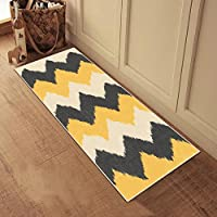 Kapaqua Rubber Backed 22 x 72 Yellow & Grey Chevron Runner Rug Non-Slip Entry, Hallway, Kitchen Runner 2X6