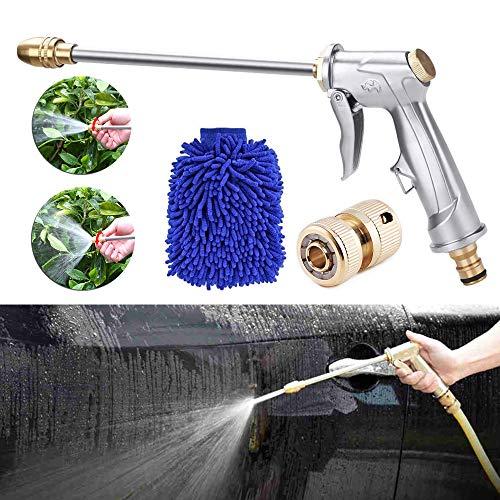 bopopo Jet Garden Hose Sprayer Gun Metal High Pressure Pistol Grip Nozzle Tool,360° Rotaing Adjustmen Leak Proof Grip Spray for Car Washing,Plants Watering,Pets Shower,Cleaning Housework