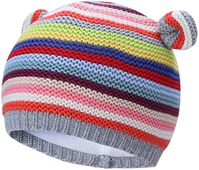 Vivobiniya Newborn Baby Winter Lovely Knitted Cap Chromatic Stripe Baby Hats